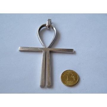 Duży egipski krzyż Ankh srebro 925