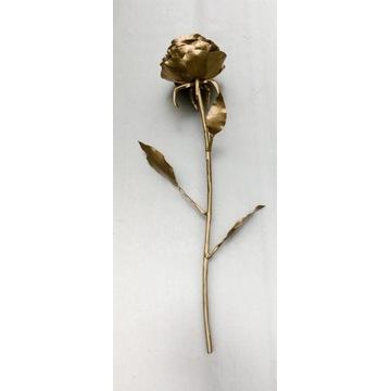 Róża stalowa złota- handmade