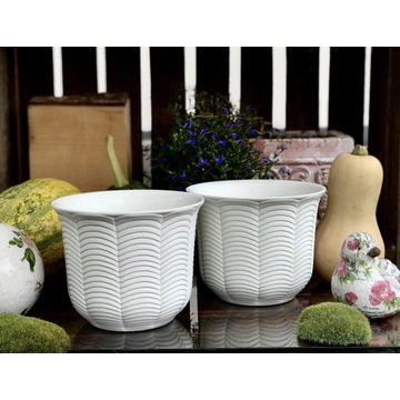 Osłonka ceramiczna 2 szt.  matowa biel szkliwiona