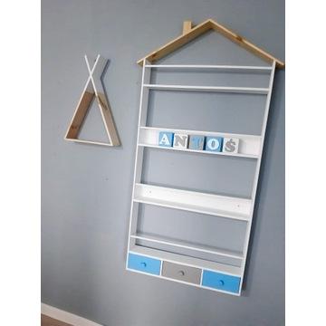 Półka na książki/ biblioteczka z szufladkami