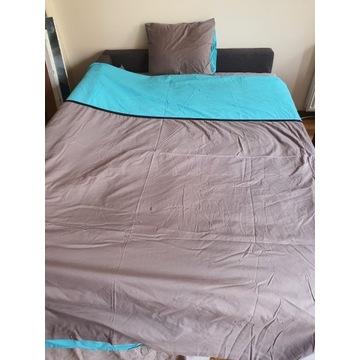 POŚCIEL BAWEŁNA 200x220 szary niebieski + poduszka