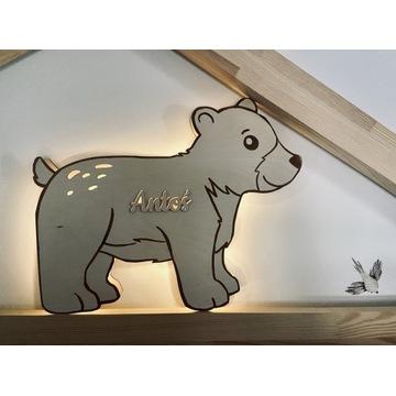 Drewniana lampka dziecięca, niedźwiadek