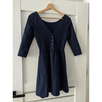 Granatowa sukienka rękaw 3/4 XS S