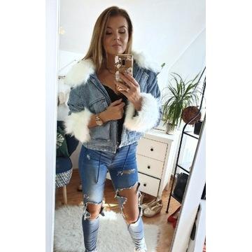 KURTKA jeansowa z futerkiem.  Hit modowy,  jasny