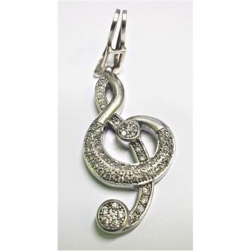 Srebrna zawieszka wisiorek -klucz wiolinowy - duża