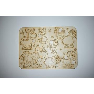 Układanka drewniana edukacyjna puzzle zwierzęta