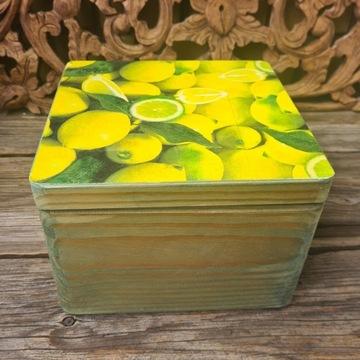 Drewniane pudełko decoupage zielone