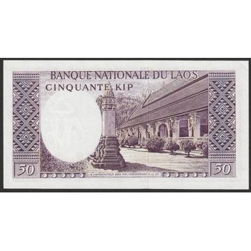 Laos 50 kip 1962 - król Savang - stan bankowy UNC