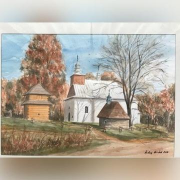 Cerkiew w Łopience-Bieszczady-akwarela