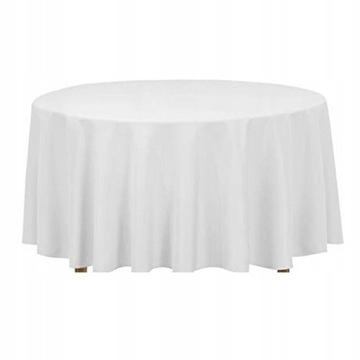 Obrus obrusy plamoodporny biały na stół Fi290cm