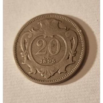 20 Heller 1895r. Austria Franz Joseph I Stan III