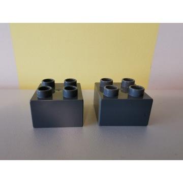 2x oryginalny klocek LEGO DUPLO ciemny szary 2x2