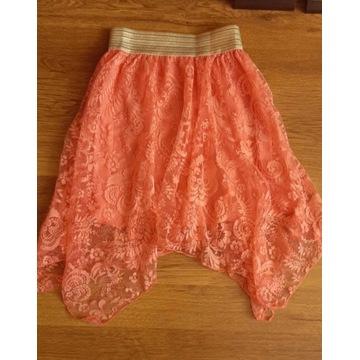 Różowa spódniczka , koronkowa na lato