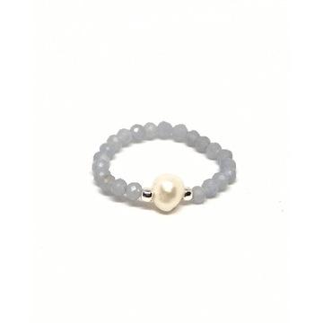 Pierścionek elastyczny kamienie angelit perła
