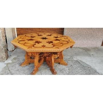 Stół góralski zakopiański drewniany intarsjowany