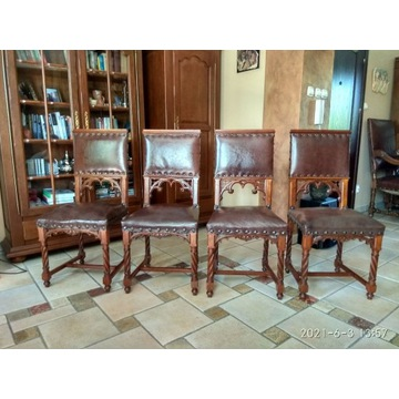 Komplet 4 antycznych krzeseł po renowacji