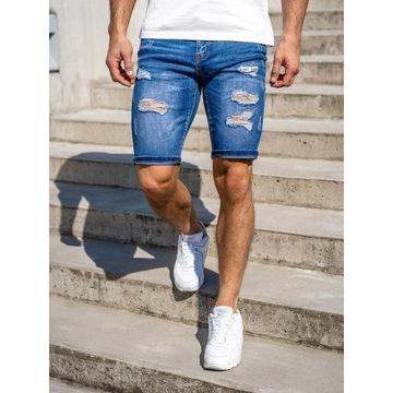 Granatowe jeansowe krótkie spodenki męskie