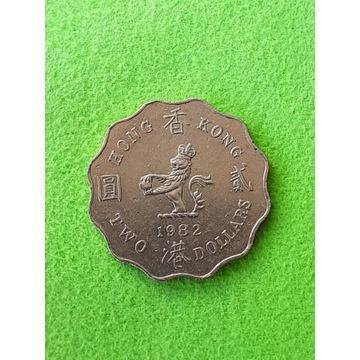 2 DOLARY 1982 HONG KONG BRYTYJSKI