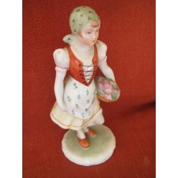 HEREND Dziewczynka w stroju ludowym Kosz.Kwia 1948