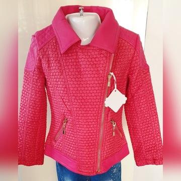 kurtka wiosenna ramoneska dziewczęca 128 czerwona