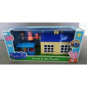 Świnka Peppa szkoła + autobus