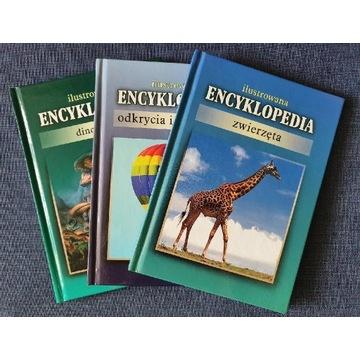 Zestaw trzech ilustrowanych encyklopedii A5
