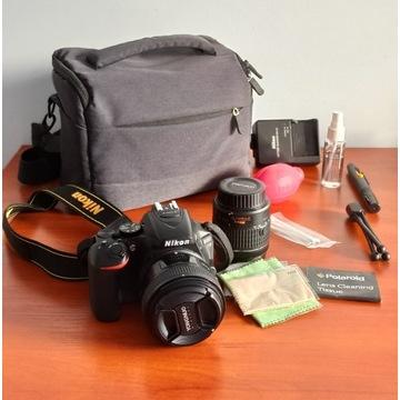 NIKON D5600 + 2 obiektywy + torba + akcesoria