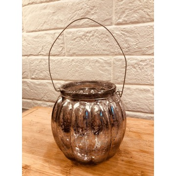 Świecznik lampion szklany na tealighty, wazonik