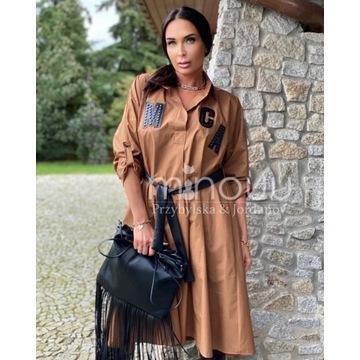 szmizjerka midi Roksana camel sukienka one size