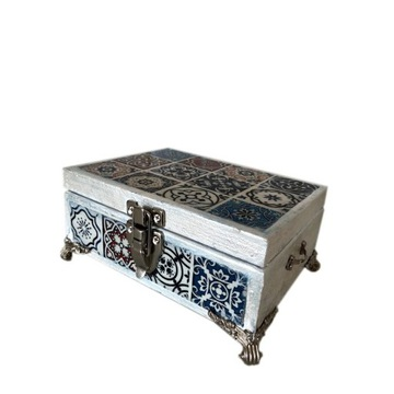 Pudełko drewniane vintage greckie kafelki