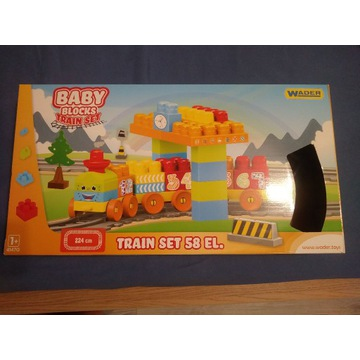 WADER Baby Blocks Train Set, kolejka 58 elementów