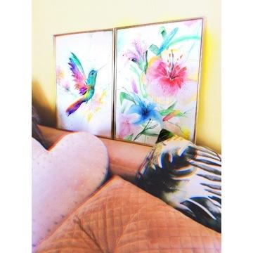 Akwarela watercolor dyptyk obraz koliber kwiaty