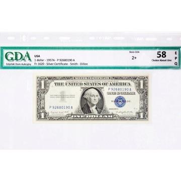 1 Dolar  USA 1957r B Silver Certyficate EPQ 58