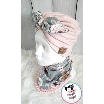 Komplet turban podwójny i chusta zatrzaski opaska