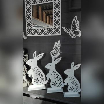 Zające z drewna,Wielkanoc, Zestaw 3 sztuki