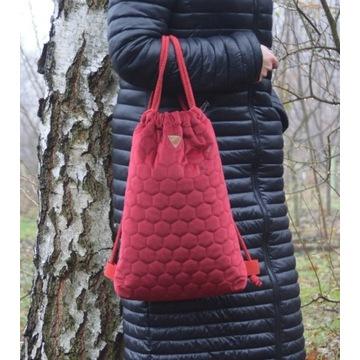 Plecak worek torba welur różne kolory handmade