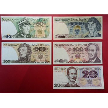 Zestaw banknotow PRL 20,50,100,500,1000