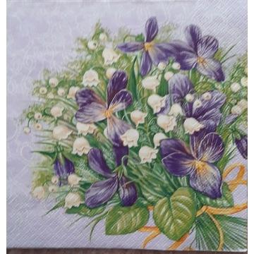 Serwetka decoupage 4 szt fioletowe kwiaty