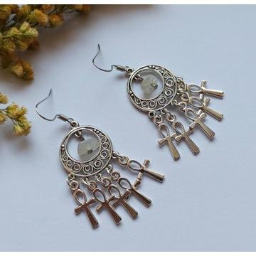 Kolczyki Ankh moonstone amulet talizman witch