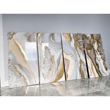 Obraz z żywicy 1 sz złoto plus kamienie abstrakcja