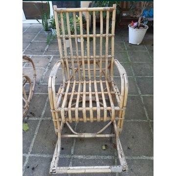 Fotel bujany z bambusa zabytek lata 70-te !