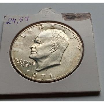 One dollar 1971r. USA AG Srebro stan L