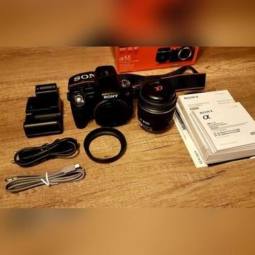 Aparat Sony SLT A55 VL+Obiektyw DT18-55 Super stan