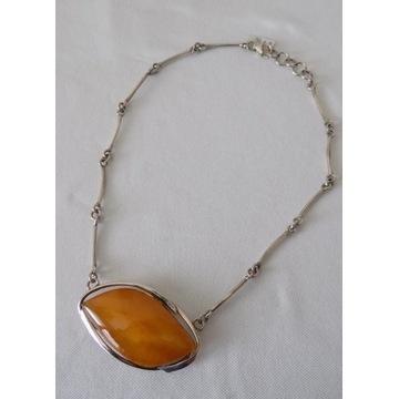 Naszyjnik ze srebra i bursztynu 38,1g   44cm