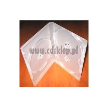 Etui plastikowe na 3 CD DVD 14mm mleczne