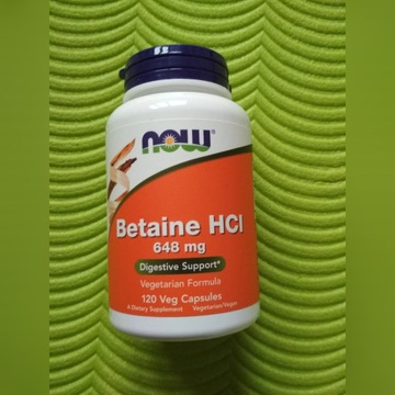 Now Foods, Betaine HCL 648mg 120 VCap Trawienie