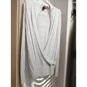 Sweter kopertowy jasnoszary H&M ciążowy 36 S