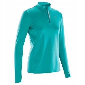 Damska bluza biegania KALENJI Run Warm turkusowa
