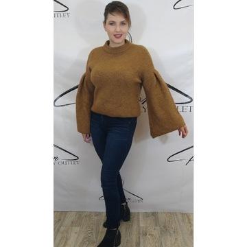 Musztardowy sweterek ciepły oversize