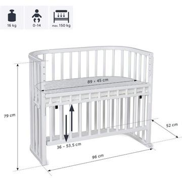 Komfortowe łóżeczko pomocnicze dl dziecka białe